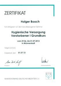 Zertifikat Hygiene Booch